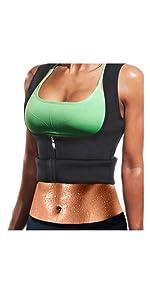Sauna Waist Trainer Vest with Zipper