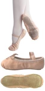 Leather Ballet Shoes Ballerina Slippers Toddler Girls Dance recital
