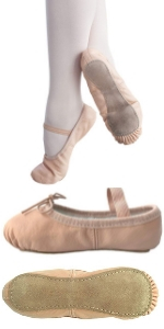 Leather Ballet Shoes Ballerina Slippers Toddler girls dance recital