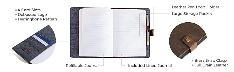 removable snap button full grain leather  card holder herringbone luxurious interior pen holder
