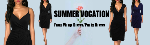 Berydress Women's Faux Black Wrap Dress Sheath Bodycon Knee-length Cocktail Party Dress for Wedding