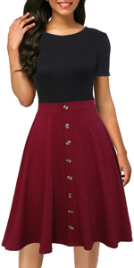 Women's Vintage Short Sleeve A-Line Knee-length Button Down Casual Party Work Dress