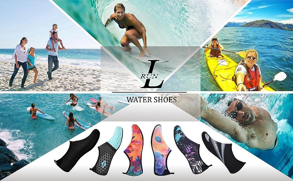 L-RUN Womens Water Shoes Mens Aqua Sock
