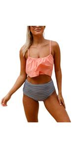Womens High Waist Bikini Swimsuits Two Piece Thin Shoulder Straps Plus Size Swimwear Beachwear Set
