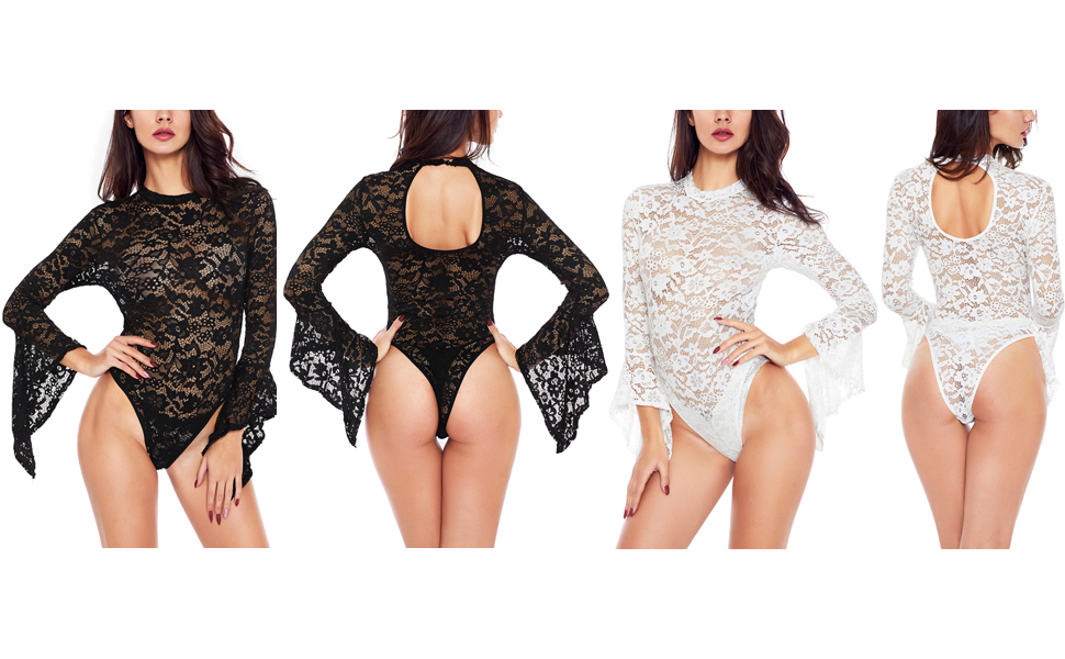 Womens Sexy Lace Teddy Lingerie One Piece Babydoll Bodysuit - Sheer Lace Bodysuit Backless Long Bell