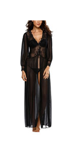 Sheer Long Sleeve Lace Robe with Thong Sexy Lingerie for Women for Sex Lace Lingerie Set Sleepwear