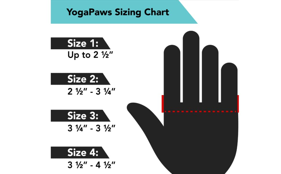 YogaPaws SkinThin Yoga Gloves and Socks Sizing Chart