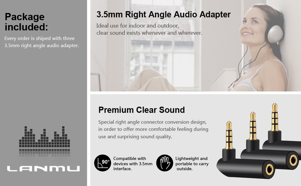 3.5mm 90 degree male to female audio adapter