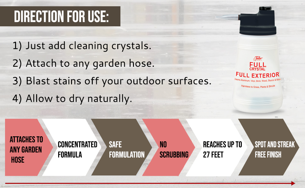 Exterior cleaner house attaches to any garden hose and gives streak free finish