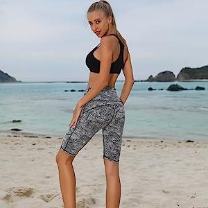 Oalka Women's Short Yoga Side Pockets High Waist Workout Running Shorts Summer Shorts For Women