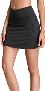 Women's Active Athletic Skirt Sports Golf Tennis Running Pockets Skort Black Tennis Golf Shirt Girl