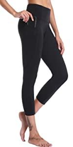 Oalka Women's Yoga Side Pockets Capris Running Pants Workout Leggings For Women Lady Girl