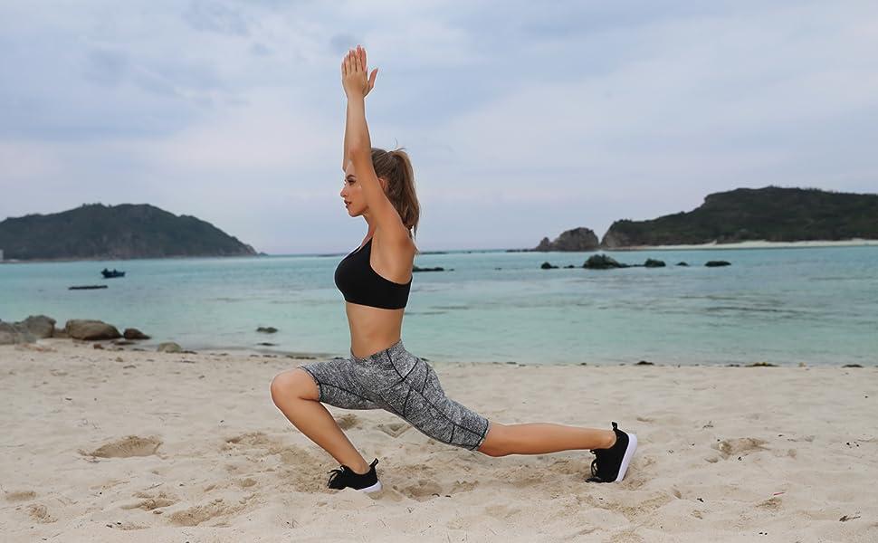 Oalka Women's Short Yoga Side Pockets High Waist Workout Running Shorts Women Summer Swim Shorts