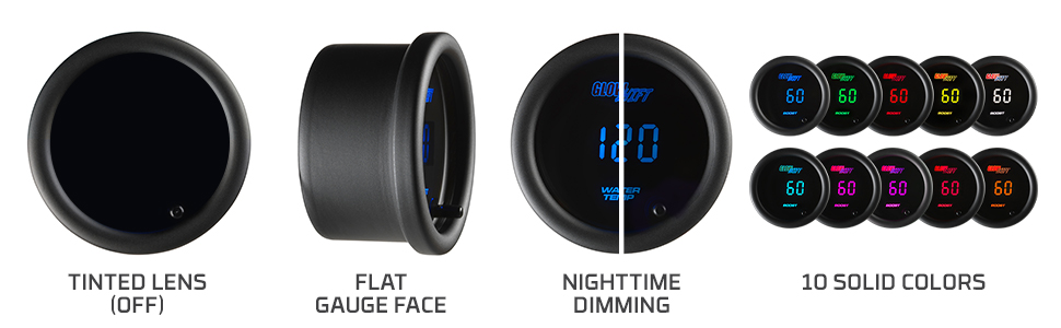 Tinted Lens Flat Gauge Face Nighttime Dimming 10 Solid Colors