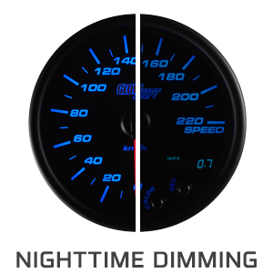 "Tinted 7 Color 3-3/4"" In-Dash Kilometer Speedometer Gauge"