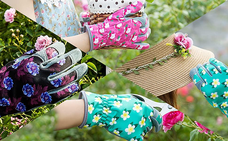 women deerskin gardenning glove