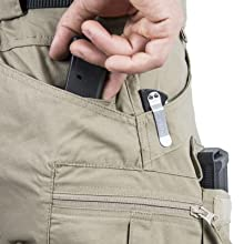 Two wide back pockets. Two small back pockets for mags, folding knife, flashlight, etc.
