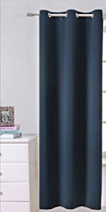 navy light blocking curtains grommets