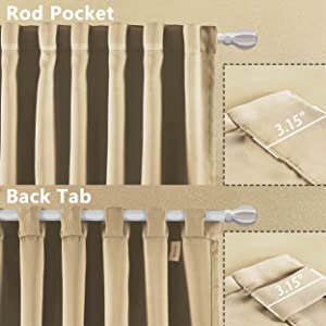 rod pocket and back tab curtains