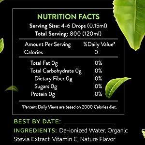 Stevia drops nutritional facts