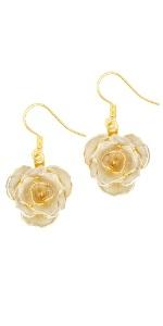 24k gold rose earrings