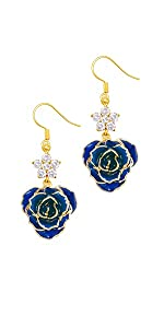 DeFaith 24K Gold Rose Earrings