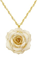 DeFaith Ivory Real Rose 24K Gold Dipped Necklace