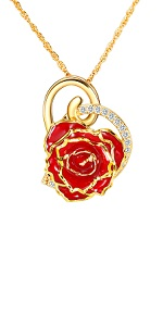DeFaith Red Real Rose 24K Gold Trimmed Necklace