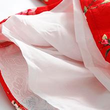 Mud Kingdom Little Girl Dresses Jacquard Peach Blossom Red