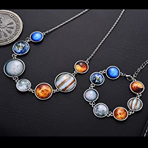 Round shape earth cabochon necklace and bracelet