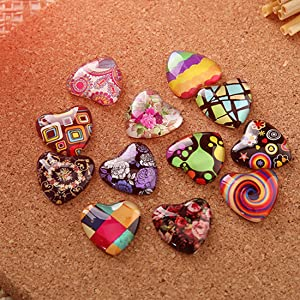 Heart shape cabochons with colorful pattern