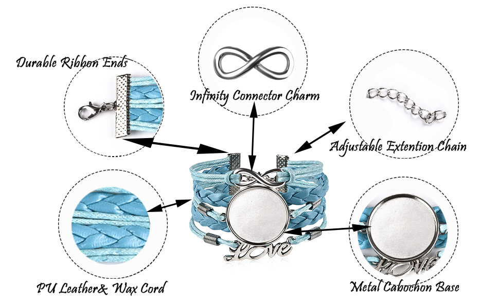 features of the bracelet chain:durable ribbon ends,adjustable extetion chain.