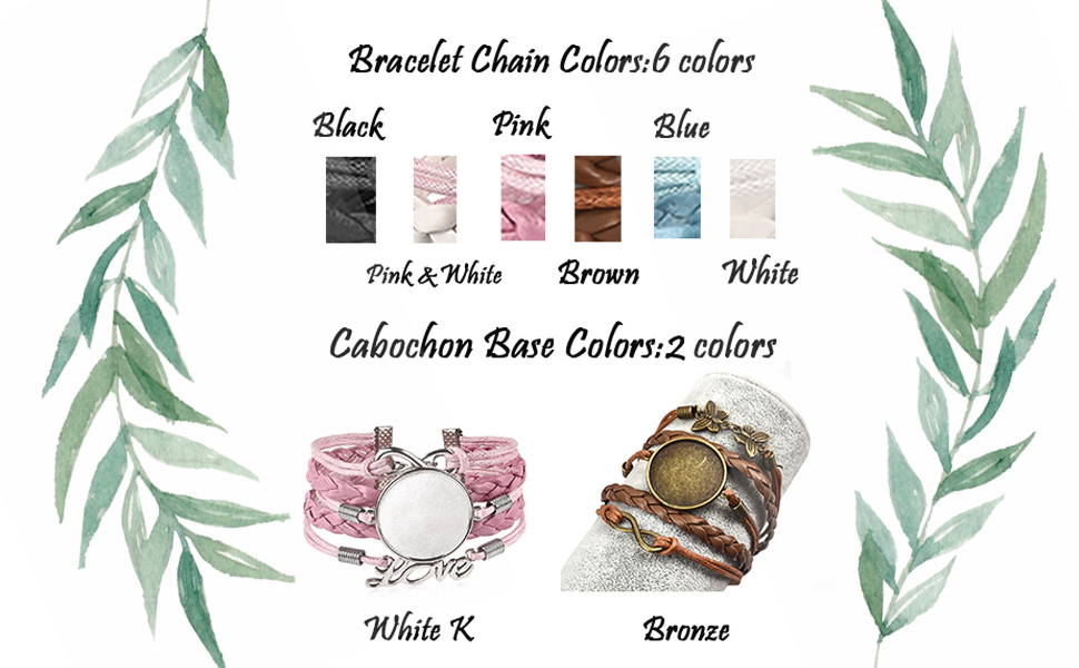 Colors of the bracelet:black,pink&white,pink.blue,brown,white.Base color: white k,bronze.