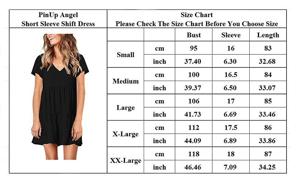 PinUp Angel Shift Dress For Women Size Chart