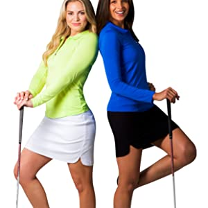UV 50 protection with cooling for golf and tennis. Long Sleeve Polos, Mocks, Solid Tops and Prints.