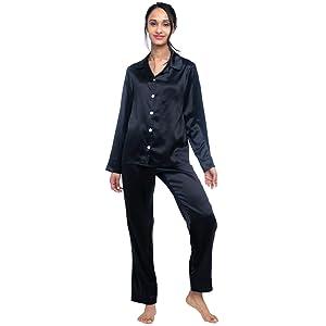 Black Pajama Set for women 100% Mulberry Silk