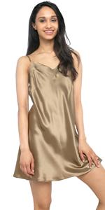 silk chemise mini slip dress