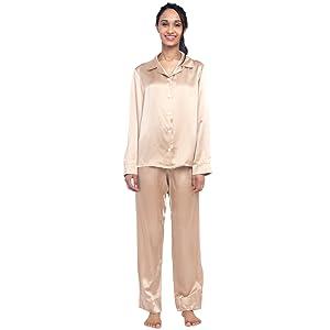 Caramel Silk Pajama Set For Women