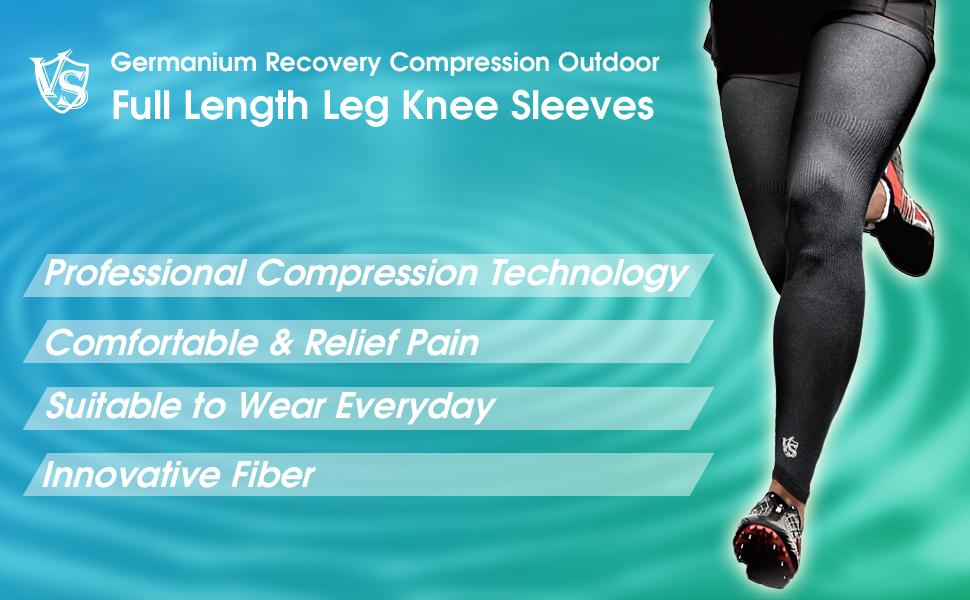 Full length leg knee compression sleeve