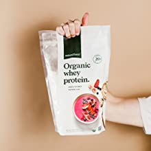 natural force organic whey protein comes in bpa free recyclable bags with 70 percent less plastic
