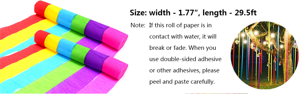 Coceca 12 Rolls Crepe Paper Streamers in 12 Colors for Wedding Ceremony Various Large Festivals Decoration