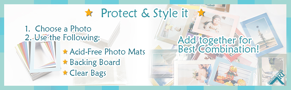 protect style acid free combo photo mat backing board clear bag