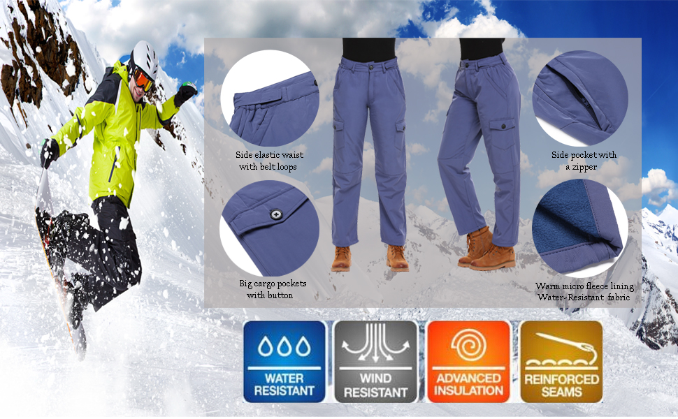 Snow Ski Cargo Pants with Pockets