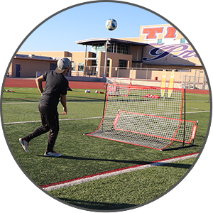 PowerNet Dual-Side Soccer Rebounder in action.