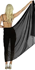 PLAIN SOLID BLACK SWIMSUIT SARONG FOR WOMEN