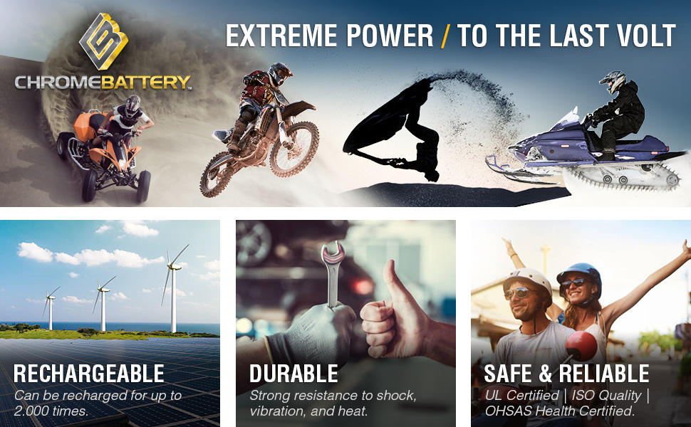 Rechargeable power sport battery that is safe and reliable, proven to be durable