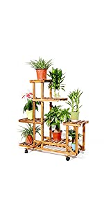 pine wood plant stand with wheels