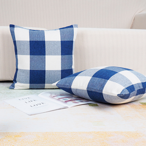 Buffalo Plaid Pillow Covers Blue and White Decorative Throw Pillow Cover