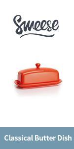 No More Hard Butter Orange Perfect Spreadable Consistency Sweese 304.106 Porcelain Butter Keeper Crock French Butter Dish