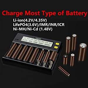 battery charger for multiple bay 18700 20700 21700 22500 22650 25500 26500 26650 A AA AAA AAAA C SC